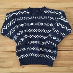 Vintage GAP Chunky Cable Knit Sweater  Geometric